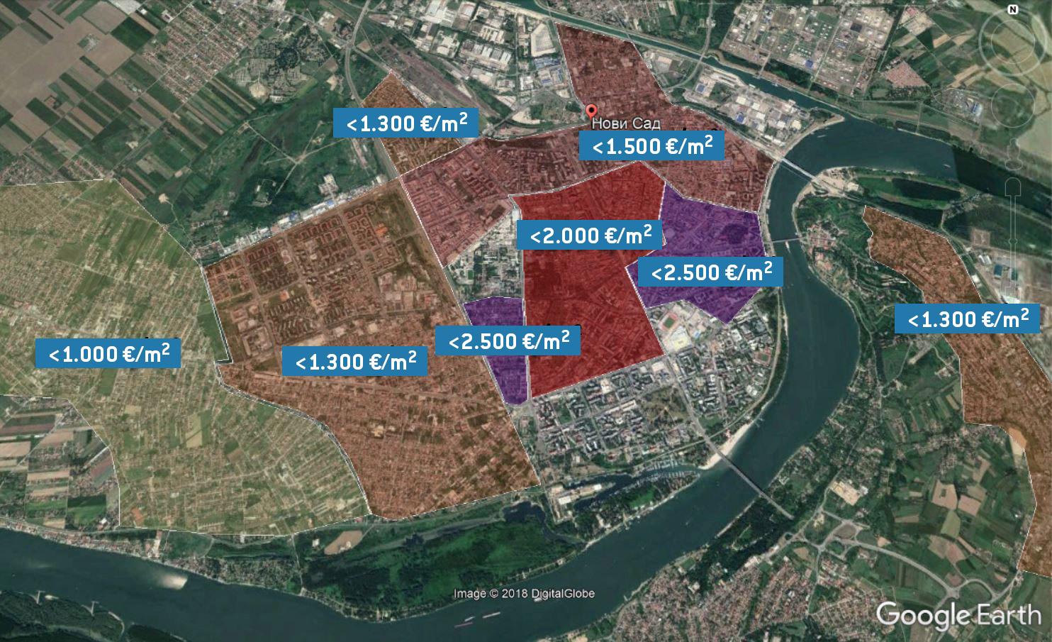 Cene kvadrata novih stanova u Novom Sadu u zavisnosti od dela grada